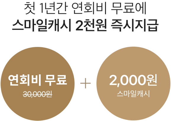 첫 1년간 연회비 무료에 스마일캐시 2천원 즉시지급 연회비 30,000원 무료 + 2,000원 스마일캐시